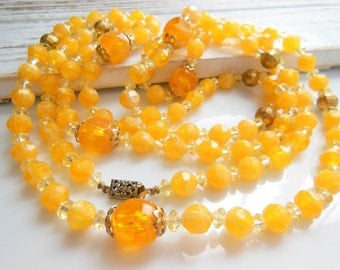 "Vintage Extra Long 54"" Apricot Peach Orange Gold Bead Rope Necklace Jewelry"