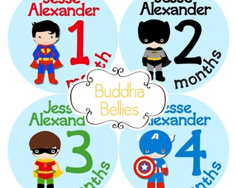 Superhero PERSONALIZED Baby Boy Monthly Sticker Boy Superhero Month Stickers Baby Decal Heroes Stickers Super Hero Baby Shower Decals
