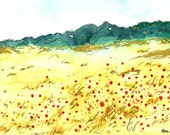 Fine Art Print, Watercolor Landscape, Green and Gold Landscape with Red Poppies, Beautiful Landscape Painting, Home Decor Gift