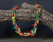 Mixed media colorful necklace, statement floral jewelry, fiber with wooden, textile and leather beads, OOAK