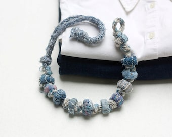 Eco-friendly jeans necklace, recycled textile jewelry, denim fiber necklace, OOAK