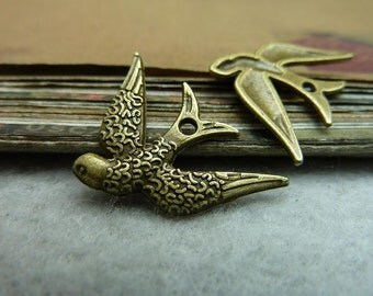 50pcs 17*24mm antique bronze bird charms pendant C7234