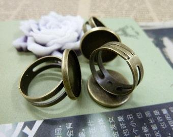 10pcs 16mm pad antique bronze ring base cabochon settings C4891