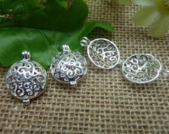 2pcs 8x17x25mm silver locket charms pendant C7560