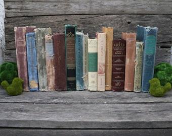 Set of 15 Vintage Books - Antique Book Decor - Photo Props - Wedding Decor - Centerpieces - Soft Tones - Beach Tones Books - Blue Book Set