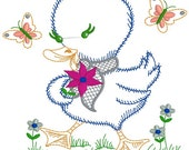 Easter duck, duck embroidery design, duck needle point, embroidery file, digitized file, instant down load, embroidery design file