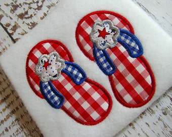 Appliqué summer flip flops embroidery machine design, appliqué flip flops, July 4th embroidery design July 4th flip flop instant download