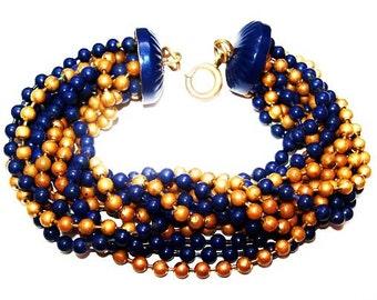 "Victorian Bracelet Blue Gold Glass Beads 12 Strands Spring Ring Clasp 7 1/4"" Vintage"