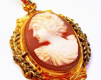 """Victorian Shell Cameo Pendant Signed 1/20th 10K GF W, L Facing Lady, Laurel Leaves 2"""" Vintage"""