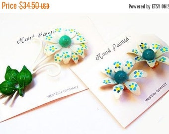W. Germany Polka Dot Brooch Earring Set Signed White Flowers Yellow Blue Green Hand Painted NOS Vintage 1960s