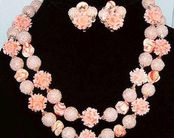 Spring Necklace Earring Set 2 Strands Sugar Beads & Pink Shells Made Japan Vintage