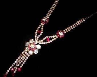"Tassel Necklace Pendant Pink Ice Rhinestones Gold Metal High End 19"" Vintage"