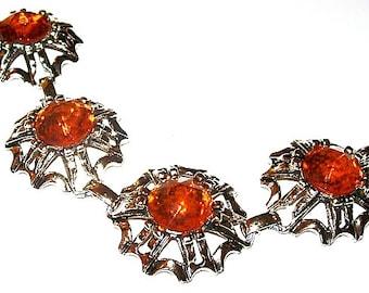 """Art Deco Link Bracelet Orange Rhinestones Silver Metal Fall 7 1/4"""" Vintage"""