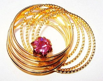 "Gold Pink Rhinestone Brooch Gold Circle Wire Design Spring Boutique Jewelry 2"" Vintage"