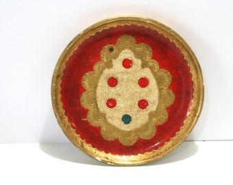 Vintage Petite Italian Florentine Hollywood Regency RED Gold Gilt Ornate Vanity Tray for Perfumes Candles or Holiday by G Serraglini Firenze