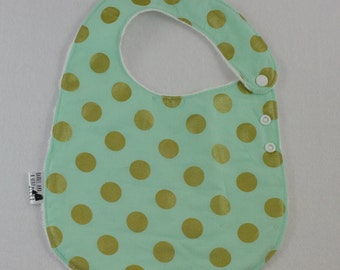 Blue with Gold Dots Adjustable Side Snap Bib with Minky Back
