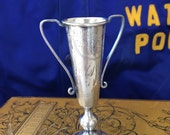 """Reserved: Darling Tiny Sterling Silver Loving Cup Trophy-""""Cyclones 1941"""" and Benson Men's Volley Ball League"""