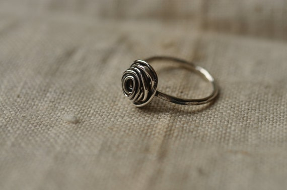 Sterling silver knot ring, unique, hand forged