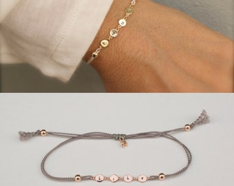 Name bracelet - Personalized silk bracelet  - customized bracelet - personalized jewelry - had stamped name - silver - gold - rose gold
