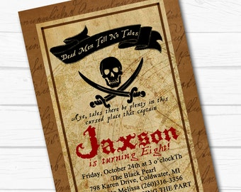 """Personalized Caribbean """"Plundering Pirate"""" Boys Birthday Party Digital Printable 4""""x6"""" Invitation"""
