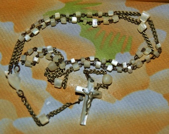 HANDMADE MOP ROSARY Old  Delicate c1940's