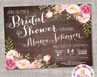 Rustic Floral Bridal Shower Invitation - Digital File