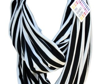 Black & Off White Stripe Jersey Infinity Scarf