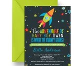 Space Baby Shower Invitation Colorful Boys Galaxy Invite, Adventure Sprinkle, Chalkboard Printable or Printed, Fun Coed Rocket Party (SPACE)