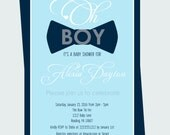 Bow Tie Baby Shower Invitation Navy - Boys Baby Shower Invite - Little Man Baby Shower Invite Blue Stripe Printable or Printed