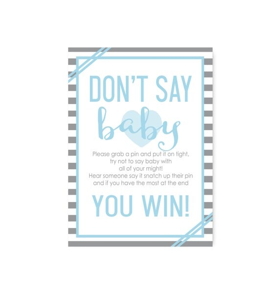 blue grey don 39 t say baby shower game sign party printable baby