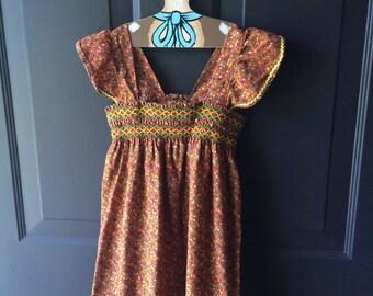 Vintage handmade pinafore sundress with smocking 3t