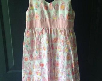 Vintage handmade pink perfume print dress girls 7/8 lily pulitzer perfume bottle fabric
