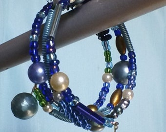 Blue and Turquoise Bead and Coiled Wire Bracelet