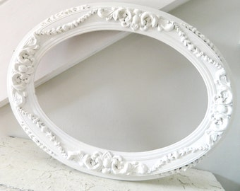 Vintage Frame White Shabby Chic Wood Oval Large Ornate