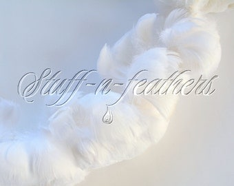 WHITE goose coquille feathers, small curled feathers strung, Wholesale / bulk feathers for wedding, crafts, millinery / 1 ft (30.5cm) / FB57
