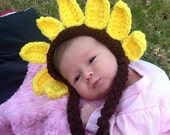 SALE Sunflower Bonnet - Beanie Boy Girl Costume Halloween Adult Teen Baby Newborn Infant Costume Photo Prop Christmas Gift Winter Outfi