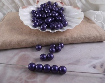 8mm Navy Faux Loose Pearls ~ 100 pieces