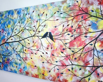 Lovebirds Large Abstract Love Birds Tree Painting Canvas Art Contemporary Colorful Over the Bed Living Dining Room Home Decor 24x48 JMichael
