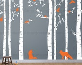 Birch Tree Wall Decal and Fox with Flying Birds, Birch forest, Birch Trees, Fox Vinyl Wall Decal 141