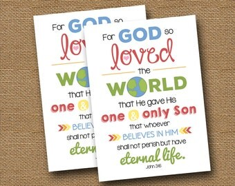 John 3:16 Printable Card | Valentine's Day Outreach | DIY PRINTABLE | For God So Loved the World | Scripture Valentine | Instant Download