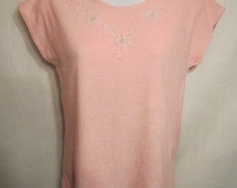 Vintage 70's Pink Top with Tiny White Beads in Floral Design