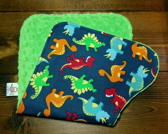 Reversible Burp Cloth Dinosaurs on Steel Blue with Dark Lime Green Dimple Minky Newborn Infant Baby Boy Drool Pad Accessories ITEM #292