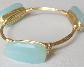 "Pale Aqua Blue Chalcedony Bangle Bracelet ""Bourbon and Bowties"" Inspired"