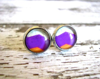 Magenta Chevron Stud Earrings : Glass Post Jewelry