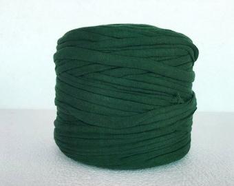Cotton T-Shirt Tricot, T-Shirt yarn, dark green  t shirt yarn, for bags, for jewellery, zpagetti yarn, recycled fabric yarn