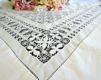 Vintage Tablecloth, Pulled Thread Work, White Work Tablecloth, 53 x 50, Victorian Home Decor, Vintage Table Linens by TheSweetBasilShoppe