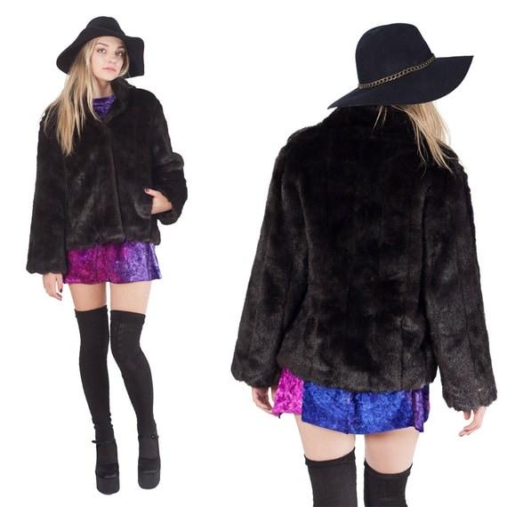 Foxy Glam Black Faux Fur Cropped Coat Jacket