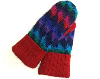 Recycled Sweater Mittens, Fleece Lined -Women's  Mitten Gift Under 50