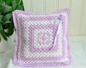 "Small crochet throw pillow, handmade Swedish granny style cushion, lilac and white home decor , 11 x 11 """