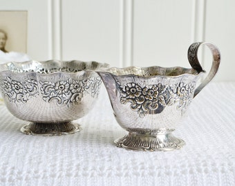Footed creamer and sugar set, vintage Swedish serving utensils, Nils Johan, Amsterdam pattern, ornate silver plate